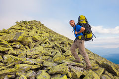 Hiking in Carpathian mountains Stock Images