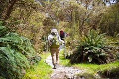 A hiker walk in vallay before ascending into the mountains in Mi Stock Photos