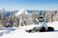 Hiker in winter mountains Stock Photos