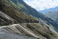 Hiker walking along a path at Grossglockner Mountain and Pasterz Stock Photos