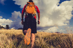 Hiker walking with backpack Stock Photography