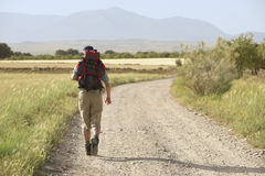 Hiker Walking On Country Road Stock Photos