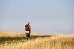 Hiker walking through meadow Stock Image
