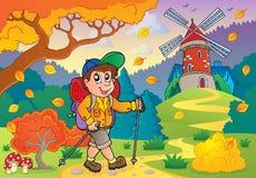 Hiker walking on path near windmill. Eps10 vector illustration Royalty Free Stock Photo