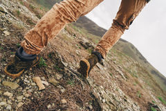 Hiker walking up outdoor Royalty Free Stock Images