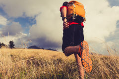 Free Hiker Walking With Backpack Stock Images - 60260234