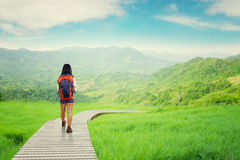 Hiker walking on wood path Royalty Free Stock Photography