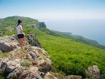 Hiker watch the terrain Stock Photography
