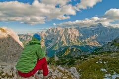 Hiker watching mountains stock photo