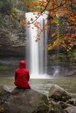 Hiker Watching Waterfall stock photos