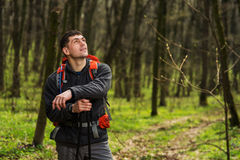 Hiker wearing hiking backpack and jacket on hike in forest. Man using hiking sticks poles outdoors in woods. Male hiker standing looking away Stock Images