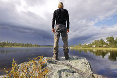 Hiker In the wilderness of Sweden Stock Image
