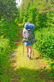 Hiker on a Wilderness Trail Royalty Free Stock Photography