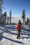 Hiker in winter Royalty Free Stock Image