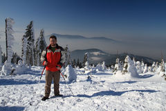 Hiker in winter Royalty Free Stock Images