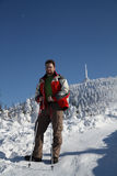 Hiker in winter Stock Photography