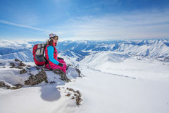 Hiker in winter Caucasus mountains Stock Photography