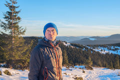 Hiker in winter Stock Images