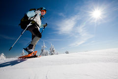Hiker in winter mountains Royalty Free Stock Image