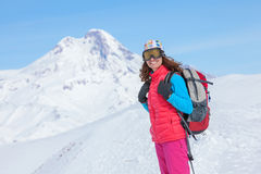 Hiker in winter mountains Stock Images