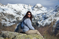 Hiker in the winter mountains Royalty Free Stock Image