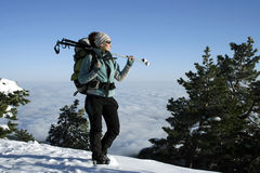 Hiker in winter mountains Royalty Free Stock Photography