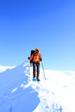 Hiker in winter mountains Royalty Free Stock Photos