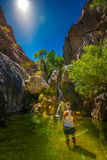 Hiker Woman Cooling off in Darwin Falls Death Valley Royalty Free Stock Images
