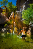 Hiker Woman Cooling off in Darwin Falls Death Valley Royalty Free Stock Photo
