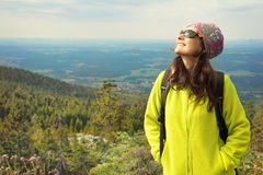 Hiker woman enjoying sun. Happy outdoor portrait Stock Photography