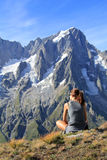 Hiker woman fascinated by panoramic view Stock Images