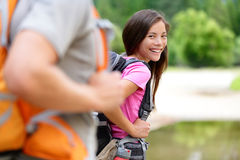 Hiker woman hiking happy smiling at camera Royalty Free Stock Photo