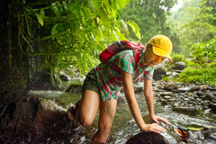 Hiker woman in hiking overcomes river in rainforest. Royalty Free Stock Photo
