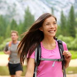 Hiker woman hiking happy Stock Photography