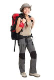 Hiker woman isolated Royalty Free Stock Photos