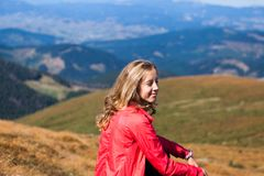 Hiker woman portrait with copy space in mountains Stock Images