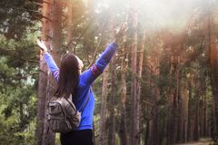 Hiker woman with raised arms up on nature outdoors, back view royalty free stock photo