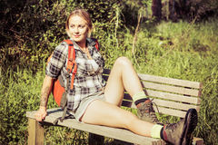 Hiker Woman Resting Stock Images