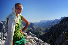 Hiker woman smiling Royalty Free Stock Photography