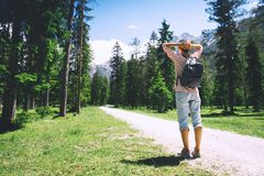 Hiker woman spend summer holiday in Dolomites, South Tyrol, Italy, Europe royalty free stock image