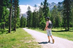 Hiker woman spend summer holiday in Dolomites, South Tyrol, Italy, Europe. Hiker woman outdoors on nature. Travel at Dolomites, Italy, Europe. Summer holiday in royalty free stock photos