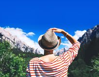 Hiker woman spend summer holiday in Dolomites, South Tyrol, Italy, Europe. Hiker woman outdoors on nature. Travel at Dolomites, Italy, Europe. Summer holiday in royalty free stock photo
