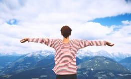 Hiker woman. Travel at Dolomites, Italy, Europe. royalty free stock photos
