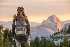 Hiker woman visit Yosemite national park in California.  stock photo