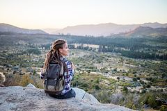 Hiker woman visit Yosemite national park in California.  royalty free stock photography