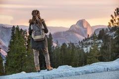 Hiker woman visit Yosemite national park in California.  stock images