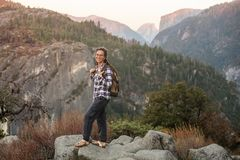 Hiker woman visit Yosemite national park in California.  royalty free stock images
