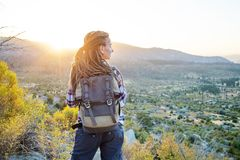 Hiker woman visit Yosemite national park in California.  royalty free stock images