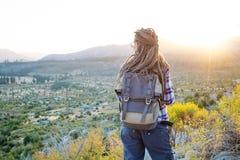 Hiker woman visit Yosemite national park in California.  stock photos