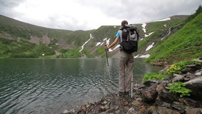 Hiker woman is walking mountain, stock video